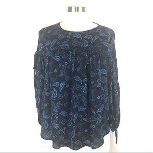 NWT Loft tie sleeve paisley blouse XS